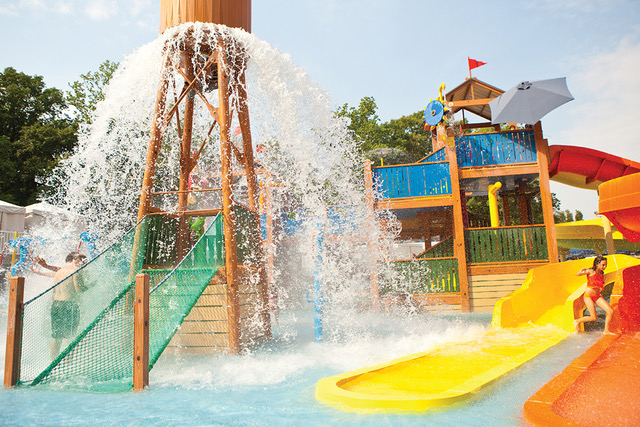Colorful waterpark with slide