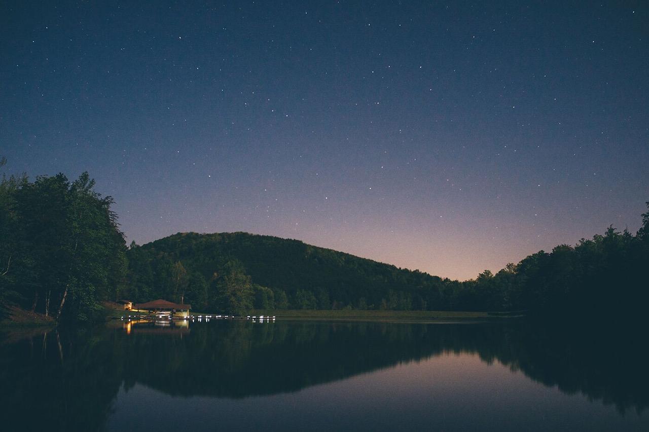 Night sky over glass lake surface
