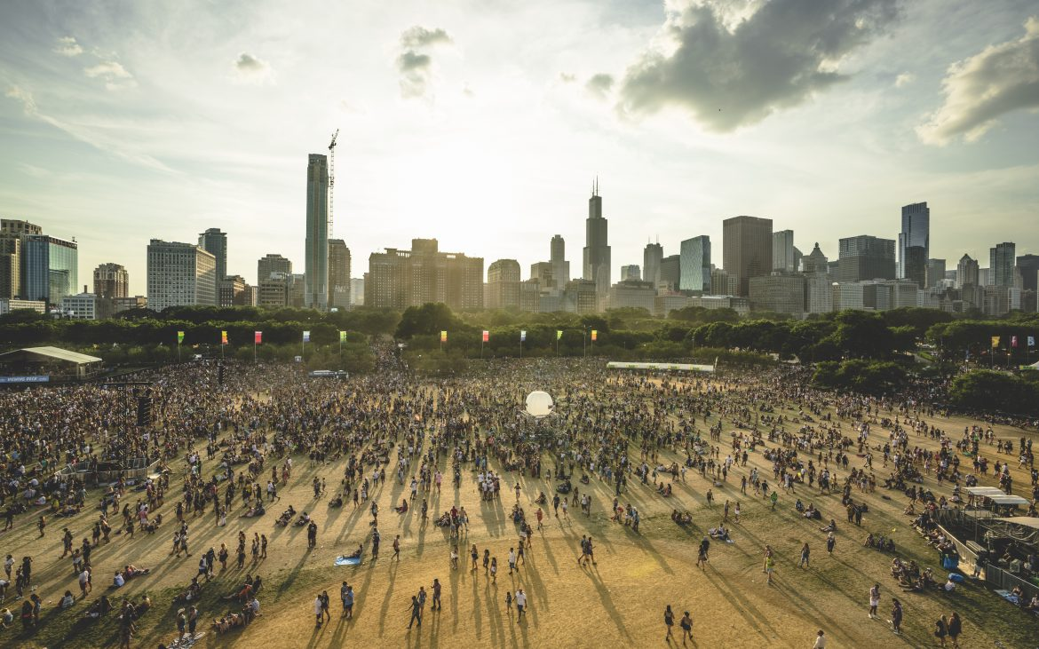 Aerial view of Grant Park in Chicago, people at festival