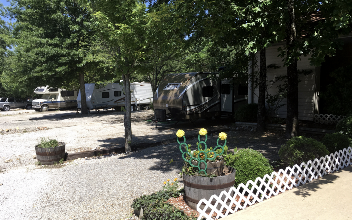 Several motorhomes parked in RV spots with lush green trees scattered