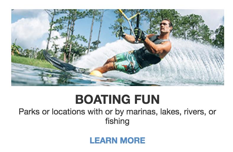 Boating fun menu button on good sam homepage