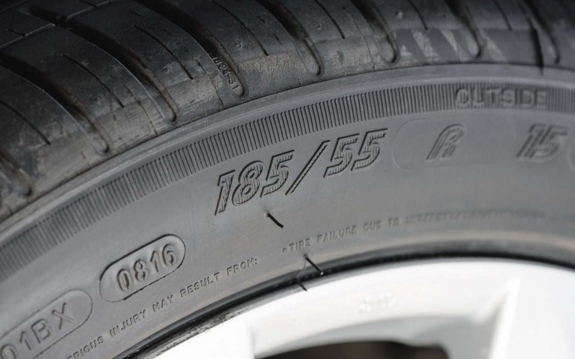 Numbers on a tire sidewall.
