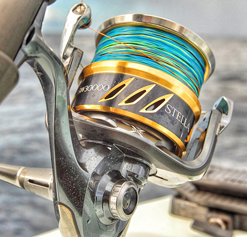 A spinner reel with brightly colored line.
