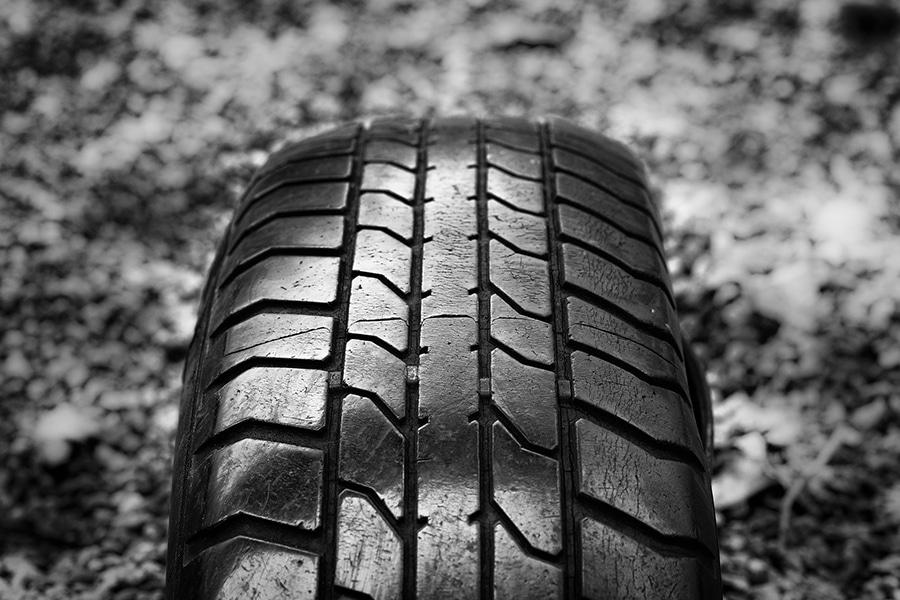 Closeup of tire tread.