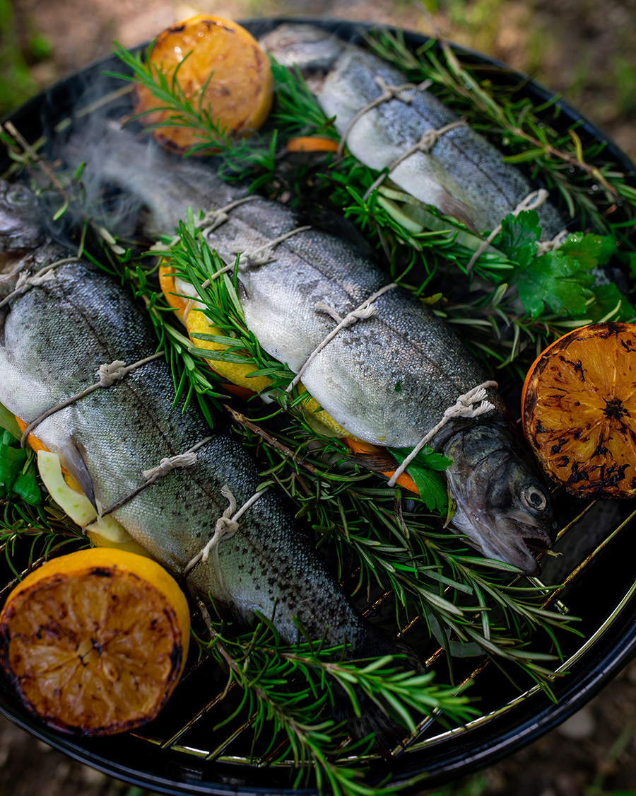 Trout grilling on an barbecue with rosemary and lemons added for flavor.