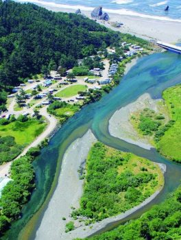 Aerial view of river and campground