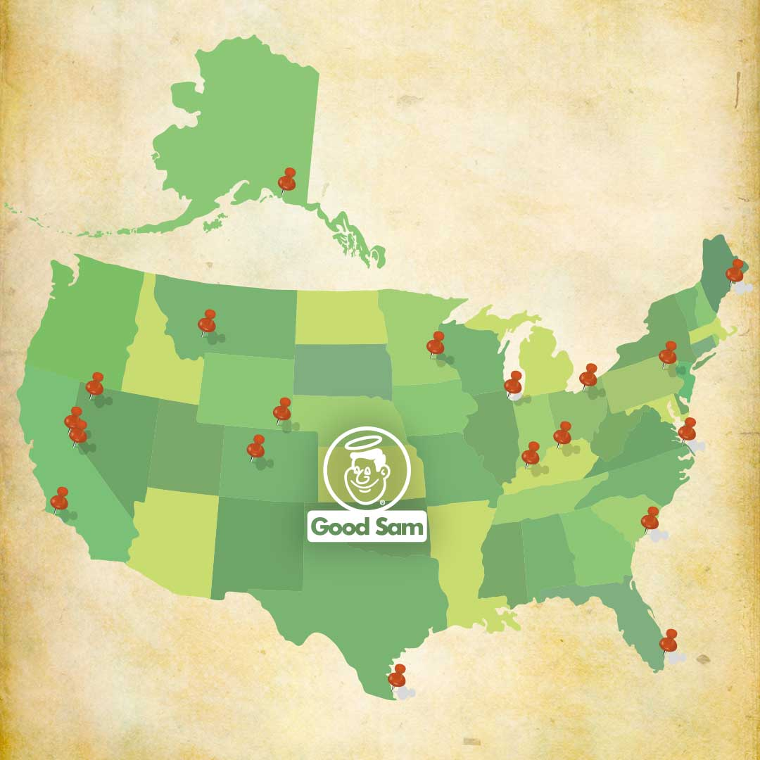 Green USA map with red location pins