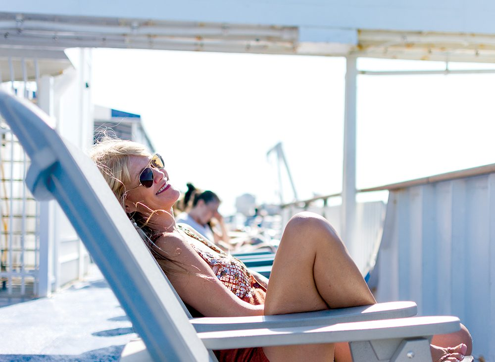Woman lounging in chair