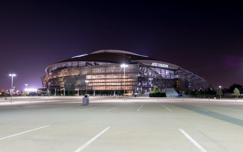 Dallas Cowboys home stadium ATT Park lit up at night