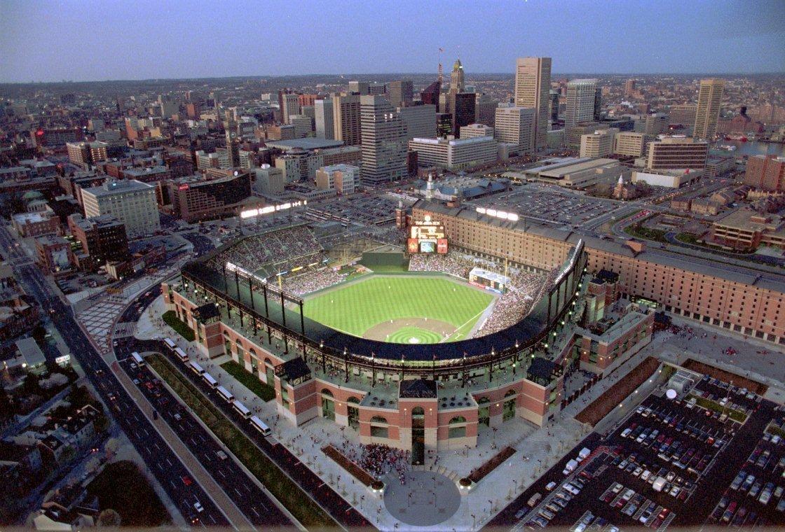 Aerial twilight view of Camden Yards Baseball stadium