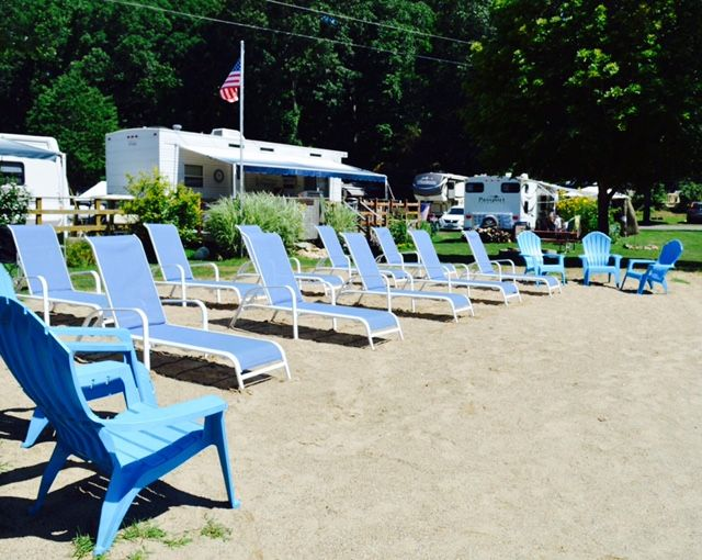 Blue lounge chairs in a row
