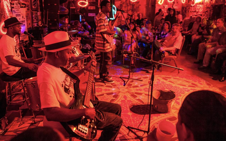 Indoor blues concert stage