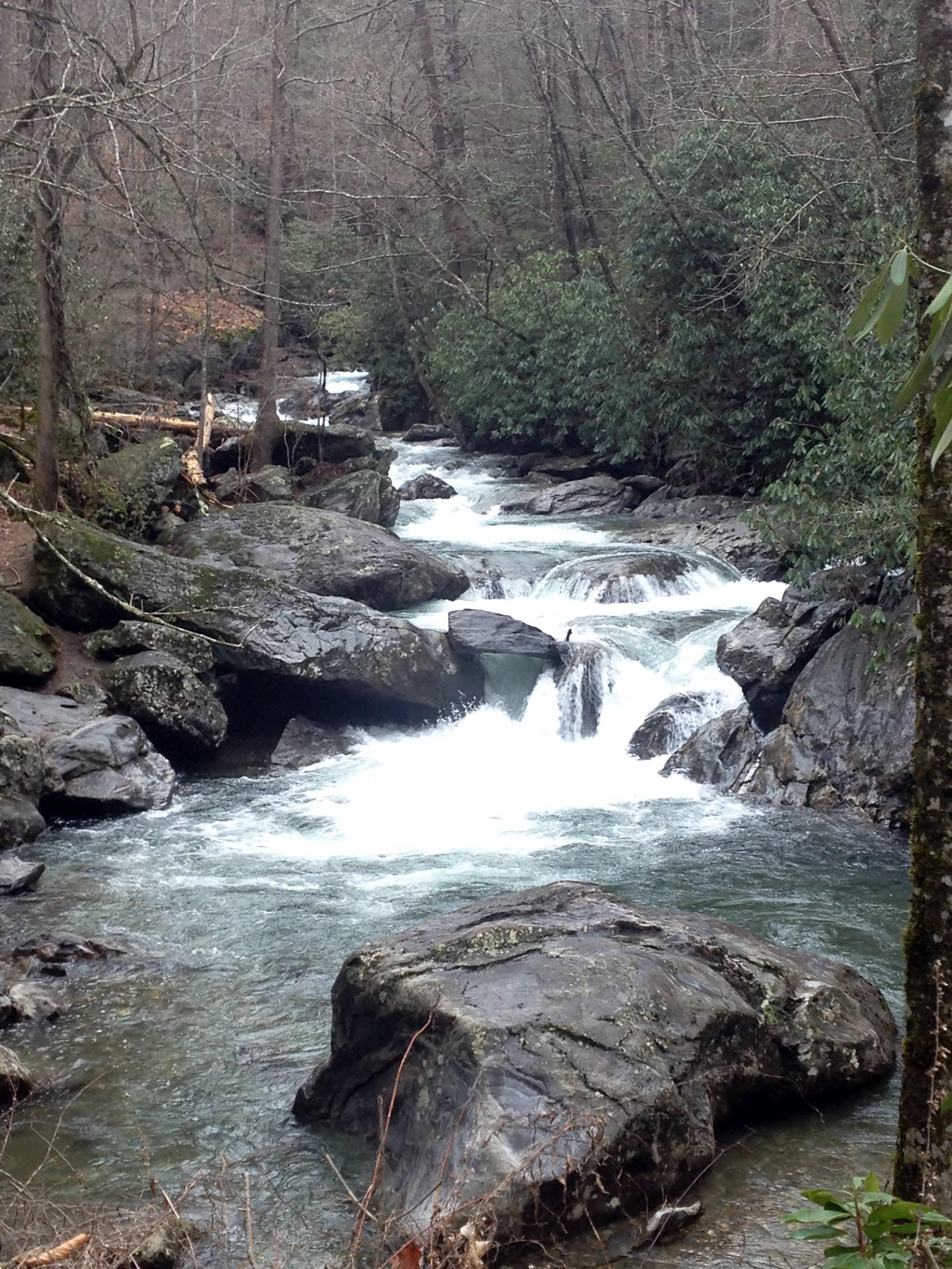 Flowing river over dark rocks