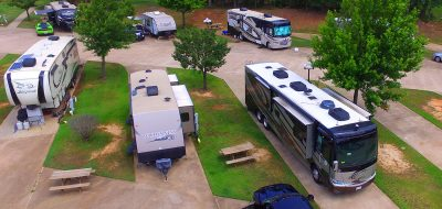 Aerial view of RVs and Trailers parked