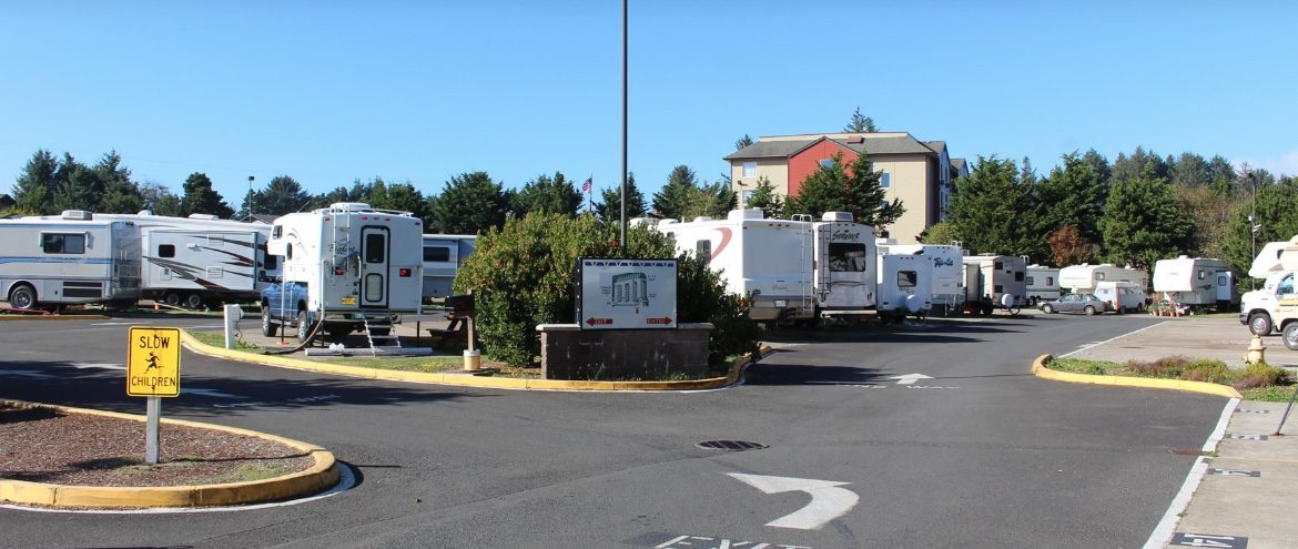 RVs and Trailers parked along paved roads