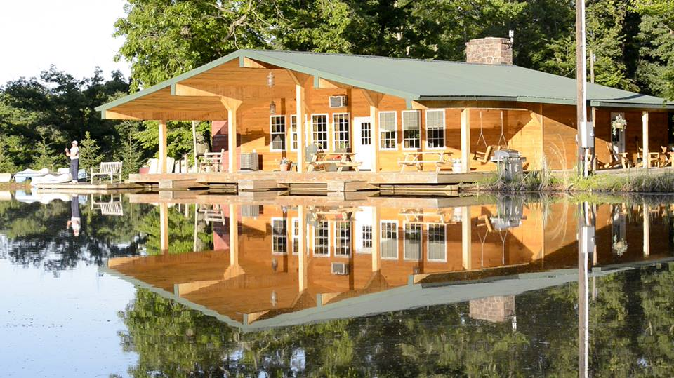Wooden clubhouse on lake
