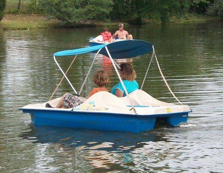 Women in paddle boat on lake