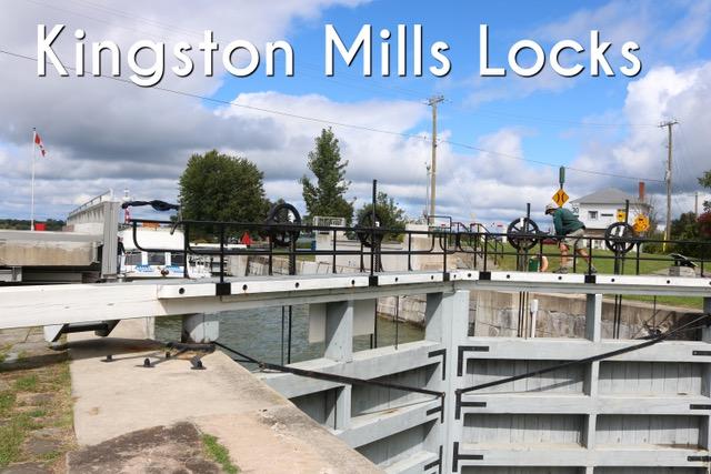 Kingston Mills Locks blocking waterway with boat waiting