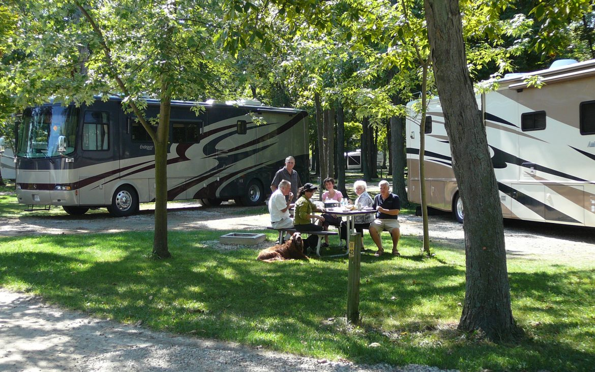 Group of adults enjoying a meal at picnic table alongside large RV