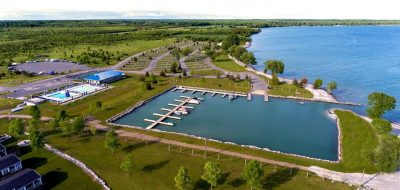 Aerial view of water and campground