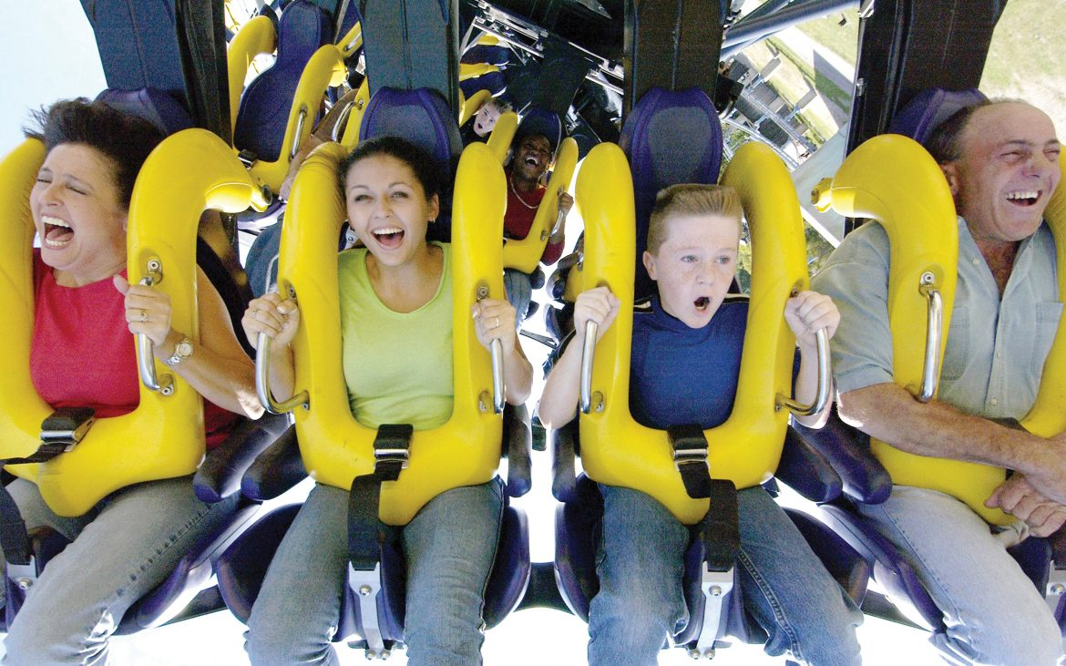 Family on extreme roller coaster
