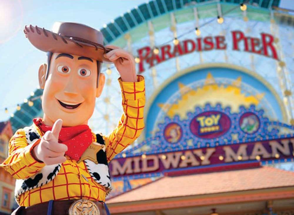 Woody from Toy Story at Paradise Pier