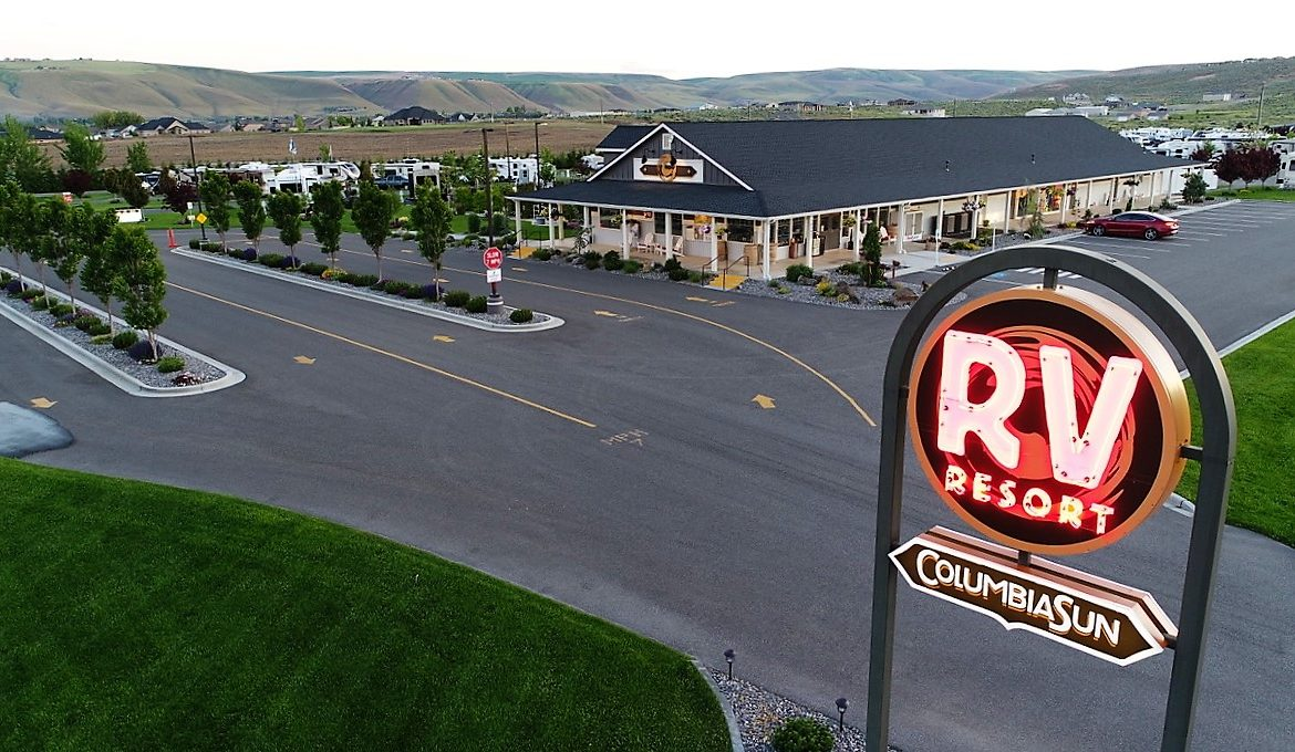 Red RV entry sign aerial view