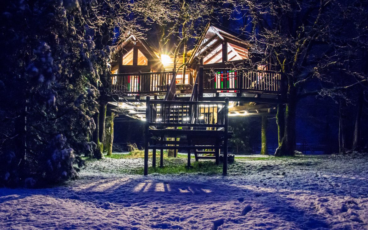Beautiful treehouse at night with lighting