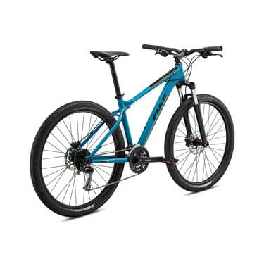 Teal and black mountain bike