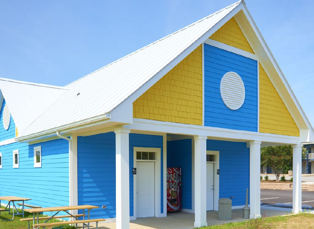 Bright yellow and blue bathhouse