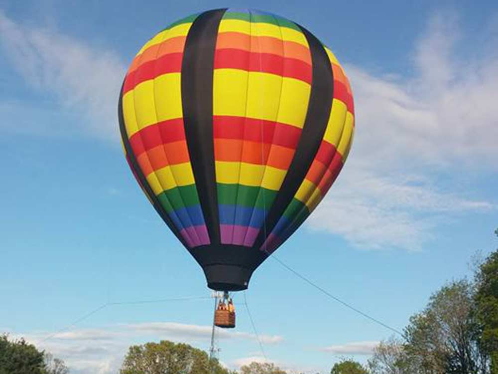 colorful air balloon with basket