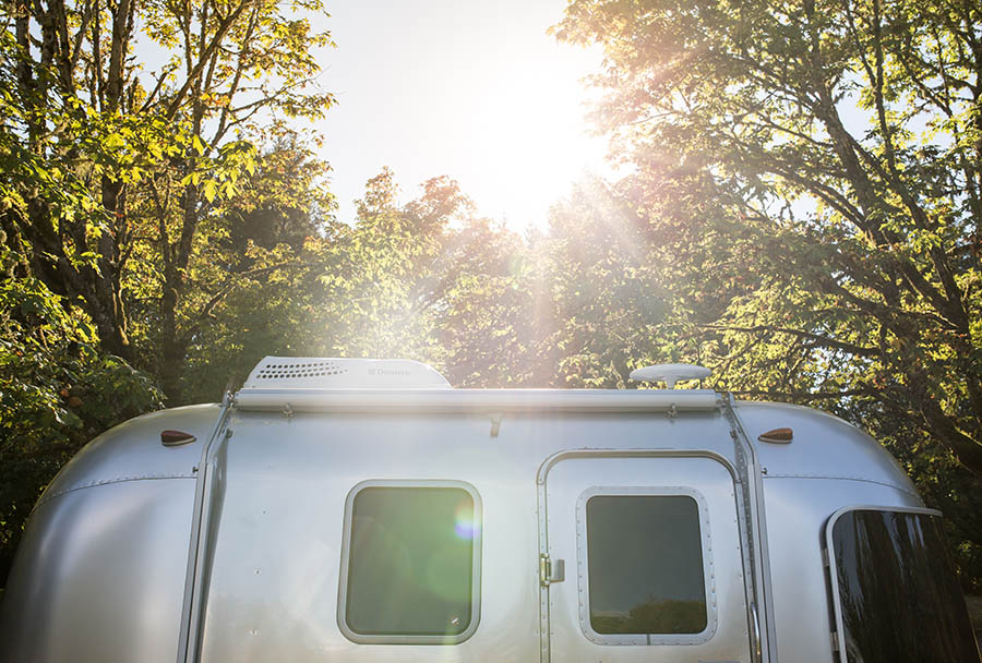 Airstream motorhome in bright sunshine.