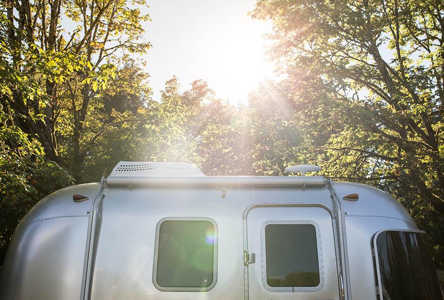 Airstream motorhome in bright sunshine.