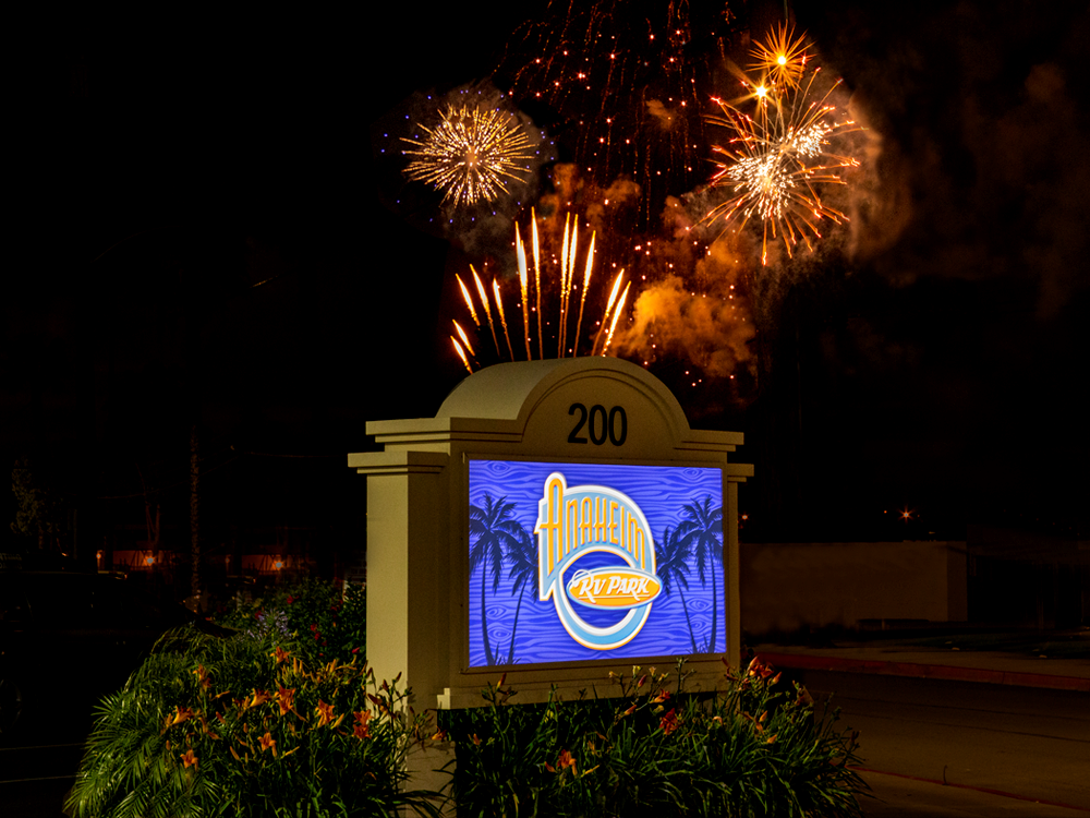 Fireworks over Anaheim RV Park.