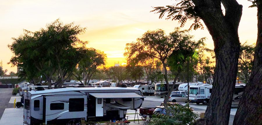 Sunset in California's Anaheim RV Park.