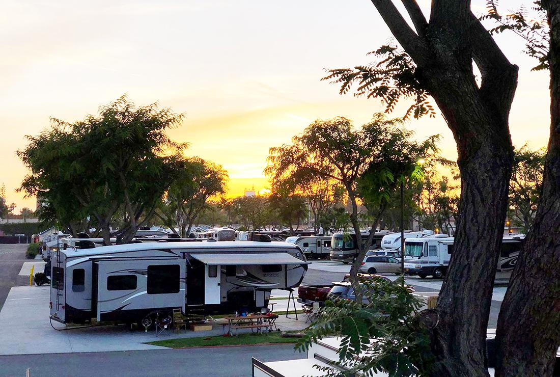 Sunset in California's Anaheim RV Park.