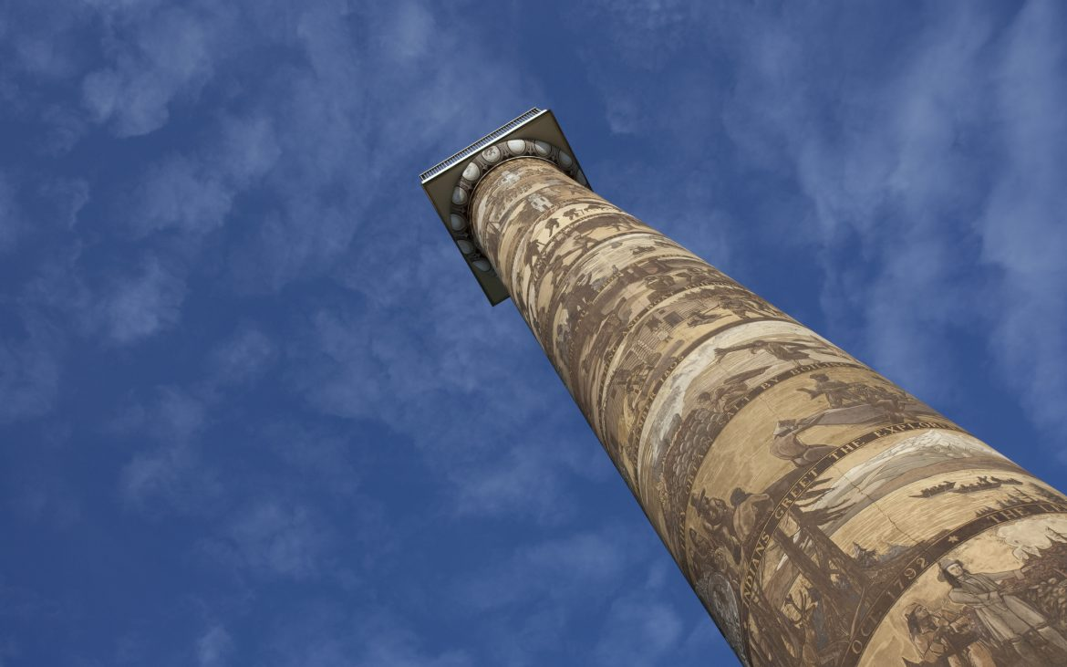 Astoria Column in Oregon and blue sky