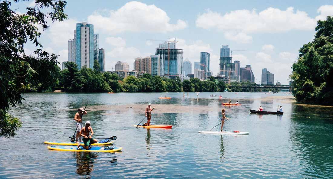 Paddleboarding on the Colorado River in Austin. Photo: Tomek Baginski.