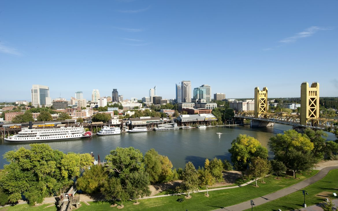 Sacramento River with Tower Bridge and paddleboats