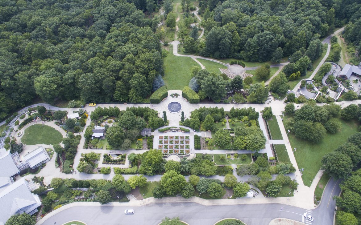 Ariel view of lush gardens, trees and walkways in Ashville