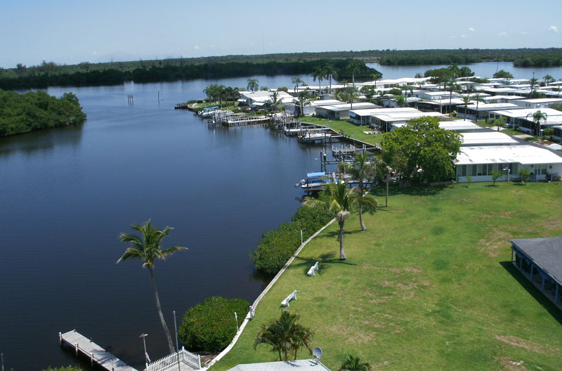 An RV resort on the banks of a river near Fort Lauderdale.