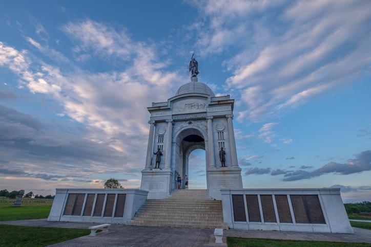 Pennsylvania Monument at Gettysburg National Military Park at Sunset