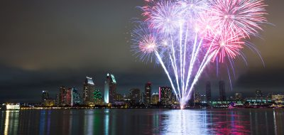 San Diego 4th of July fireworks over skyline.