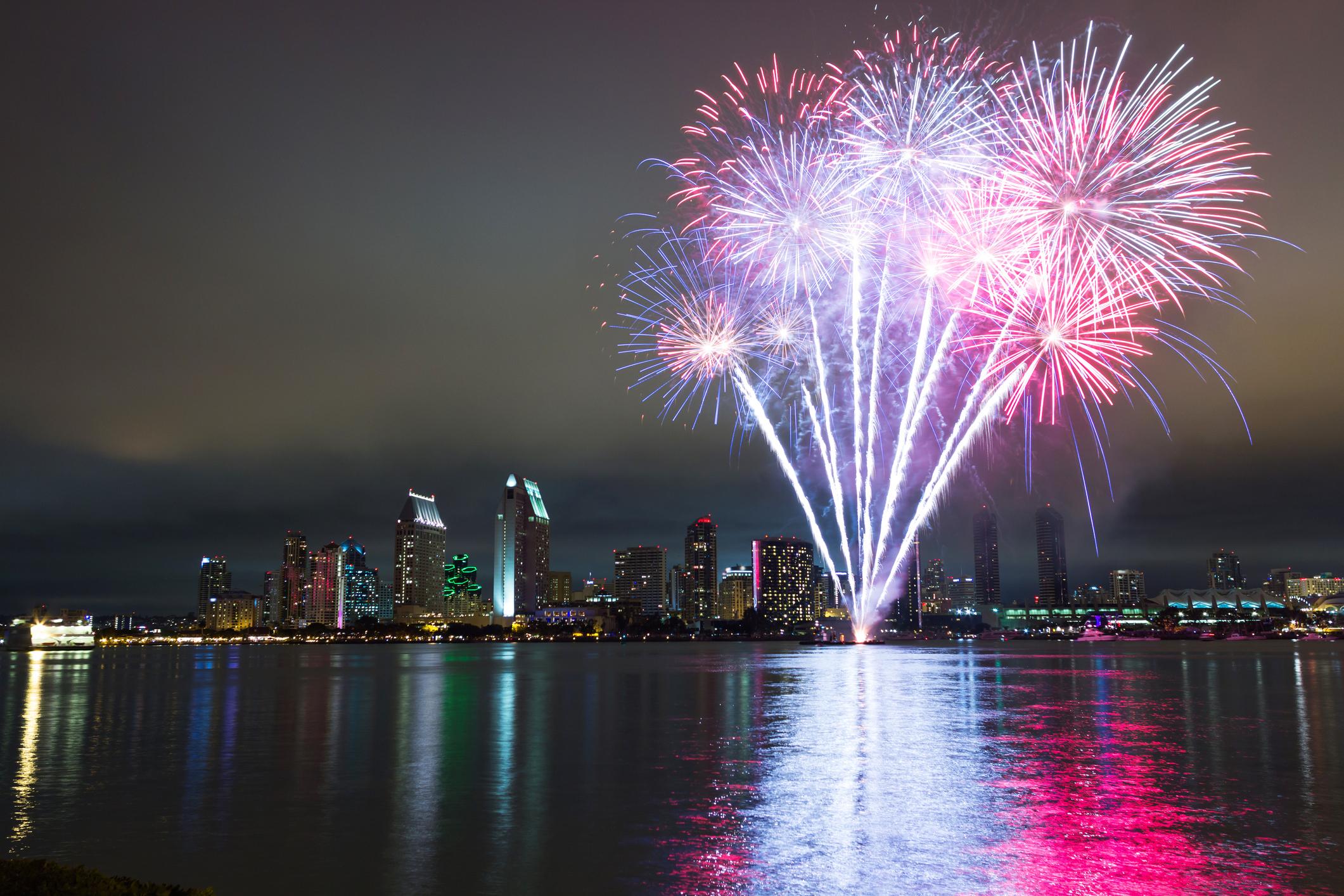 San Diego 4th of July fireworks over skyline.