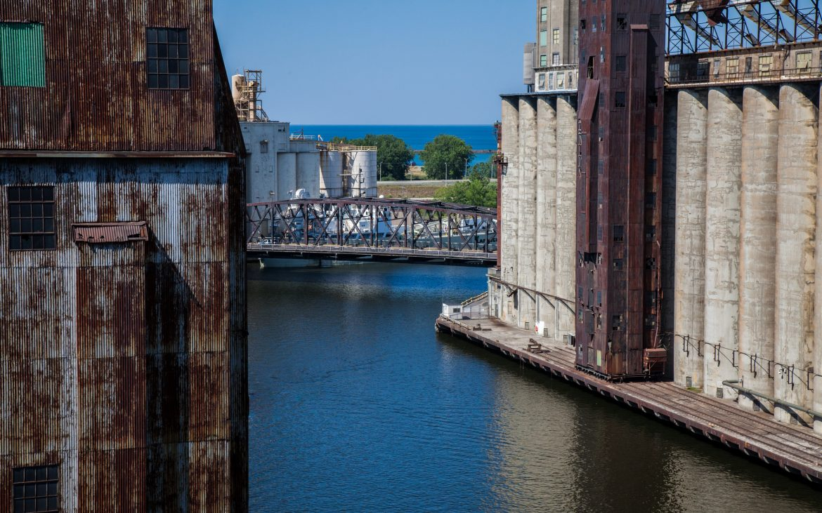 A view of a grain elevator and the shipping canal in Buffalo NY
