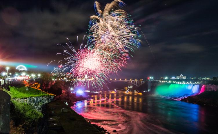 Fireworks over Niagara Falls, Canada