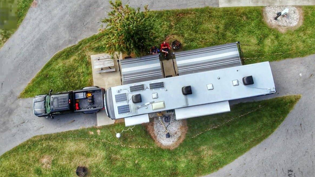 Aerial view showing fifth-wheel's roof.