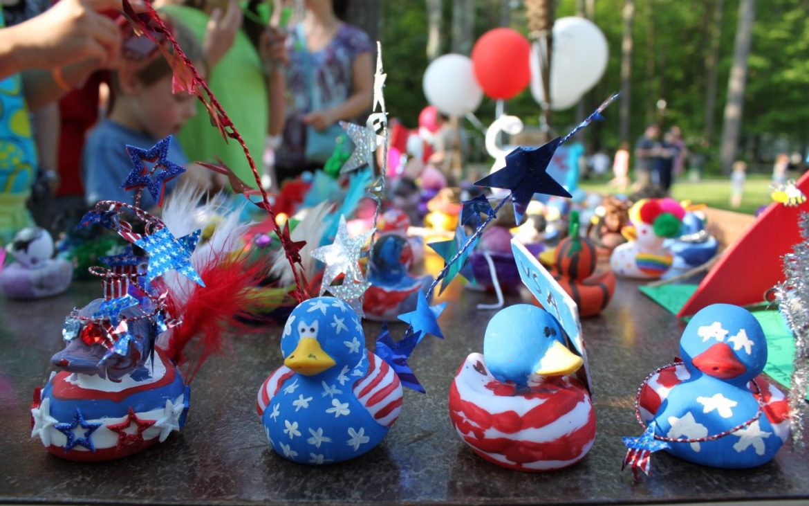 4th of July themed arts and crafts painted rubber ducks