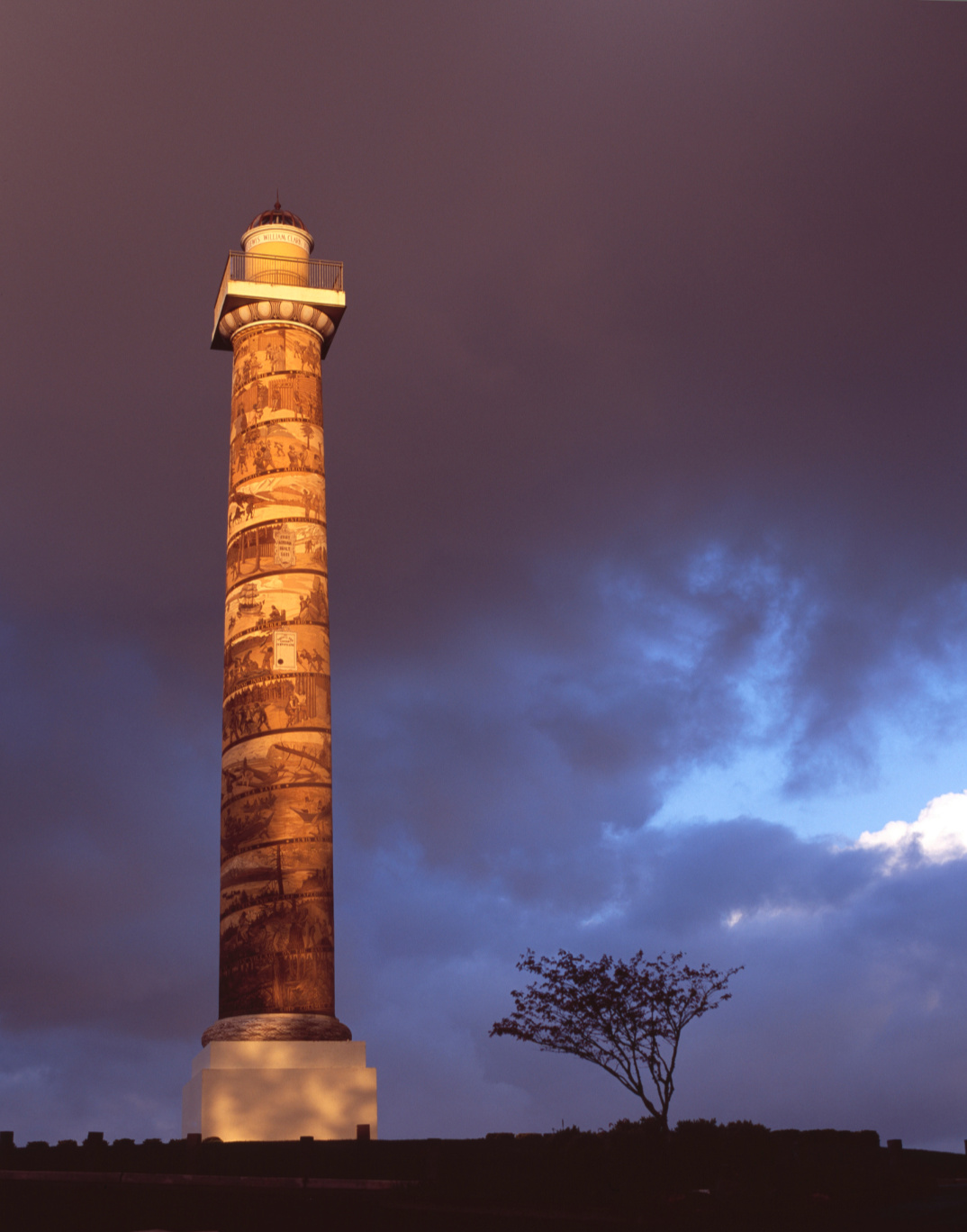 Astoria Column on cloudy night with tree