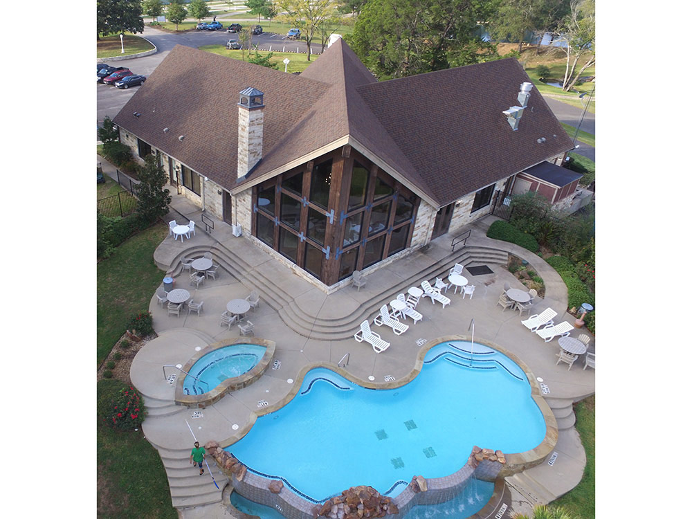 Aerial view of inviting resort pool and spa